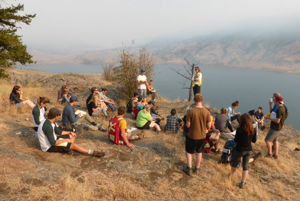 Morell teaches a field course to undergraduate students in British Columbia, Canada.
