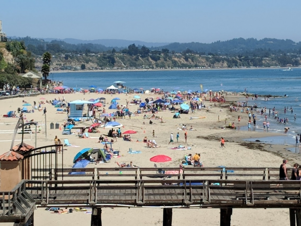 People gather to enjoy the surf at Capitola Beach.