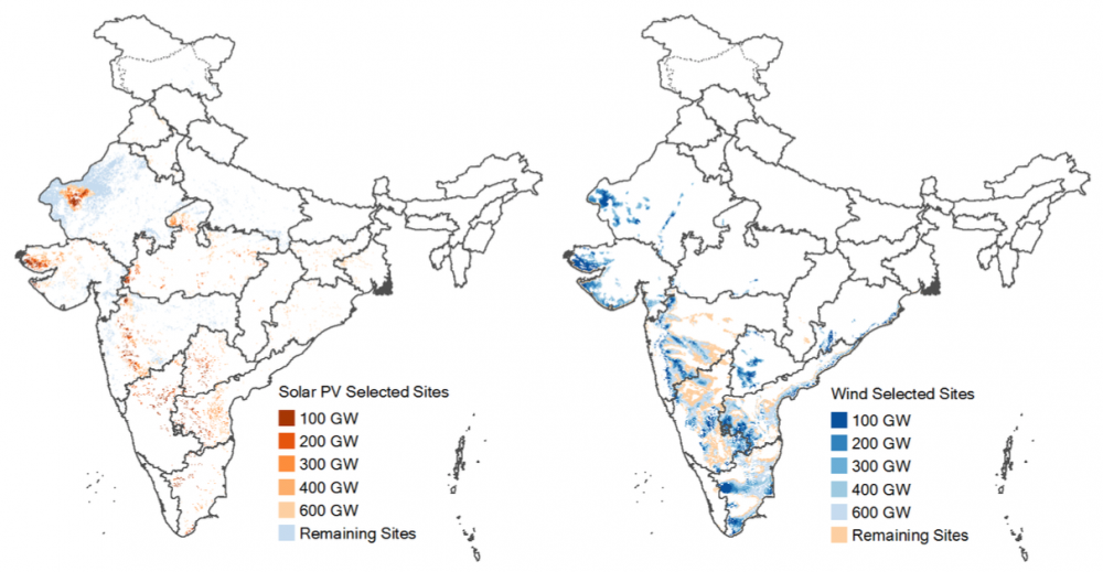 Two maps of India.