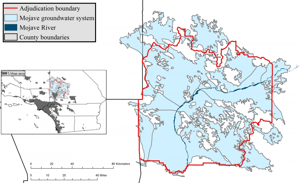 Map of the Mojave groundwater basin and the adjudication boundary