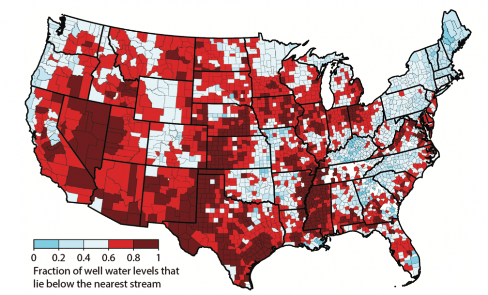A map of well water levels with respect to the surface of the nearest river.