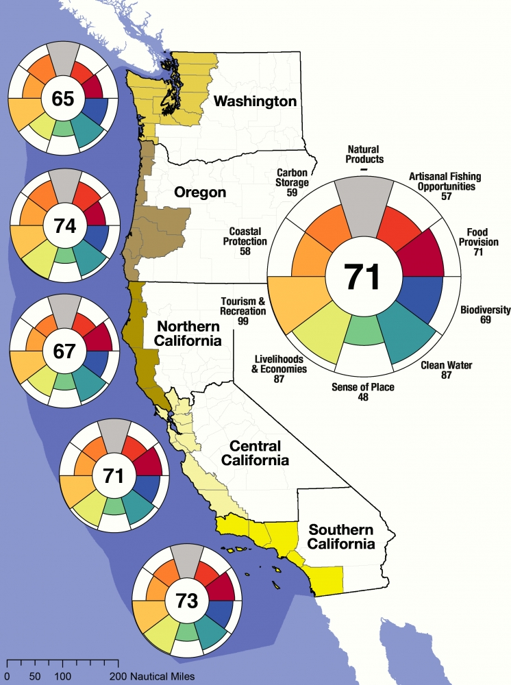 West Coast States Of Usa Map.Ocean Health Index Assesses U S West Coast States The Ucsb Current
