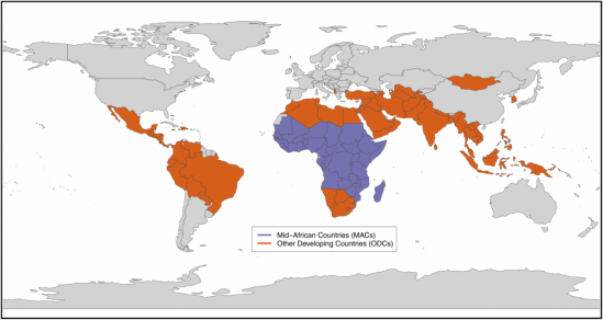 Countries in the study