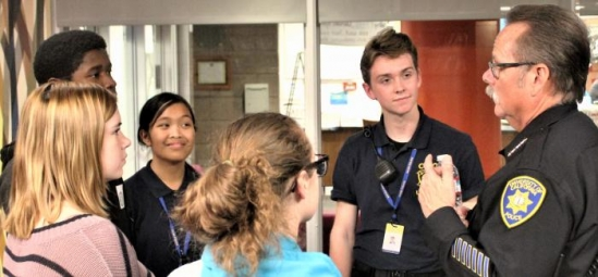 Interim Police Chief James Brock with UCSB students
