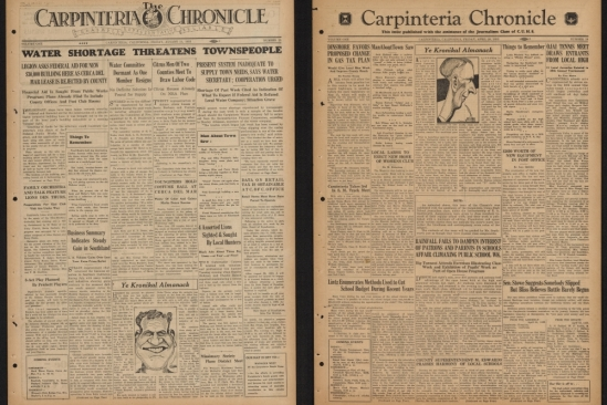 Front pages from Carpinteria Chronicle 1933
