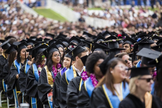 The sea of students at UC Santa Barbara commencement