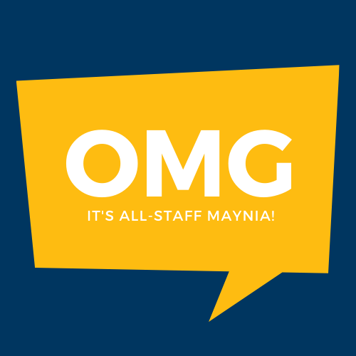 blue and gold logo for UCSB Staff MAYNIA event