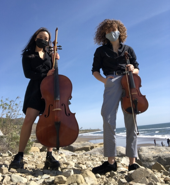 Lauren Chen with cello and Bridget Boland with viola