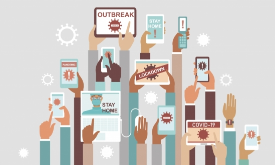 Human hands holding various smart devices with coronavirus alerts on their screens