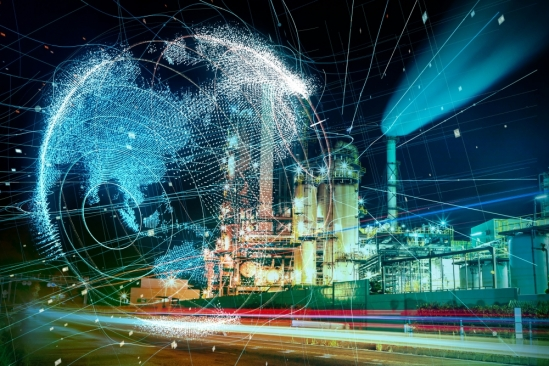 Power plant or factory with blue, digitally networked globe
