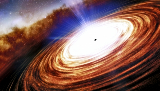 An artist's interpretation of a quasar and the black hole at its center.