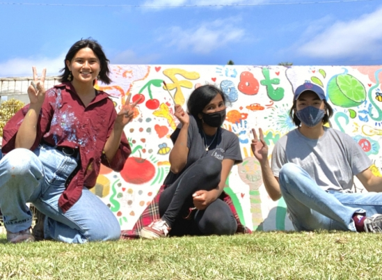 Members of the Reel Loud mural project, from left, are Micky Brown, Vidhisha Mahesh and Kyle Kam