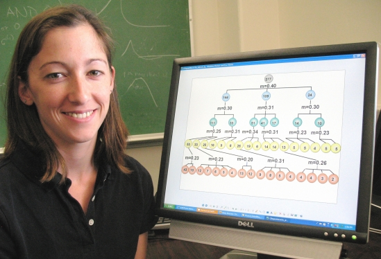 Danielle Bassett with a depiction of the neuronal system of the nematode worm, C. elegans.  George Foulsham,  Office of Public Affairs, UCSB