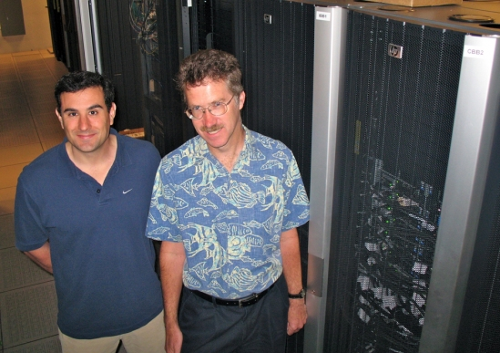 Frank Brown (left) and Paul Weakliem with a portion of the new computing equipment.