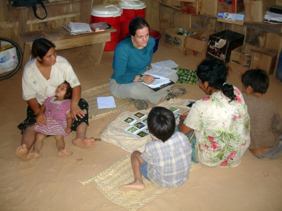 Lisa McAllister uses photos to ask Tsimane women who they consult regarding issues related to reproduction