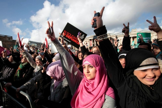 Women protest in Egypt during the Arab Spring.