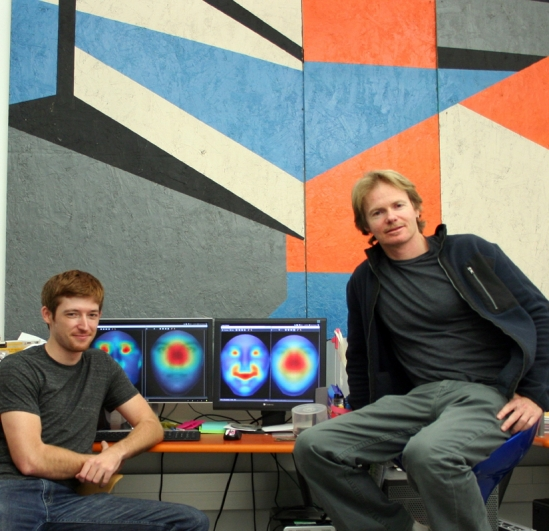 Postdoctoral researcher Matthew Peterson, left and Miguel Eckstein, professor in the Department of Psychological & Brain Sciences at UCSB