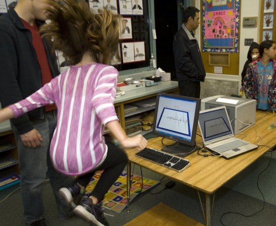 Students are told to jump for 10 seconds as the equipment registers the acceleration generated by their movement.