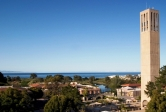 Storke Tower and UCSB campus ocean view