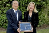 UCSB Chancellor Henry T. Yang with Distinguished Alumni Award recipient Lisa Bruce
