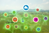 Internet of Things smart farming concepts graphic