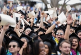 Happy crowd of grads at UCSB Commencement