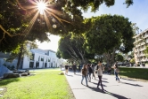 Students move across UCSB campus in fall 2018
