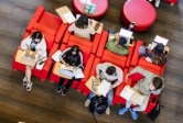 Overhead view of students studying in UCSB's Student Resource Building