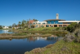 Panoramic view of UCSB lagoon, UCEN, Club & Guest House, Storke Tower