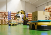 Automated guided vehicles move packages in a warehouse. 3D rendering.