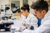 graduate stem students in a UCSB lab