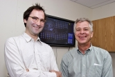 Nicholas Wymbs, left,  and Scott Grafton in   the UCSB Brain Imaging Center.