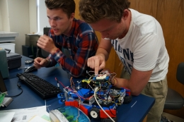 UCSB mechanical engineering students uploading code written for their RoboRat