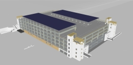 a rendering of the completed structure 22 solar project