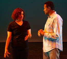Zurian Zarati and Michael Morgan discuss a scene from The Odyssey Project
