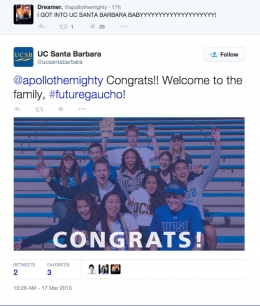 UCSB Admissions Twitter-apollothemighty