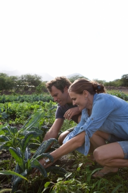 Kim and Jack Johnson gardening in Hawaii