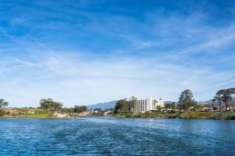 View of UCSB campus from Campus Point and lagoon