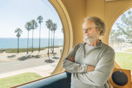 Bill Paxton looks out at the the ocean from the cupola of Kohn Hall.