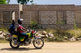 Men on a motorcycle in Tanzania