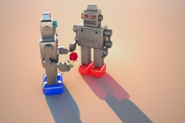robot gives flower to another robot