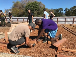 Jack Johnson building a garden bed at UCSB's Edible Campus Student Farm