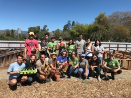 Jack and Kim Johnson with UCSB students at Edible Campus Student Farm