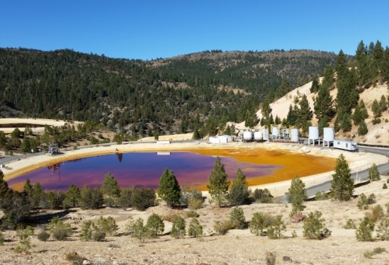 A pond with deep orange water sits amongst the forested slopes of the Sierra Nevada.