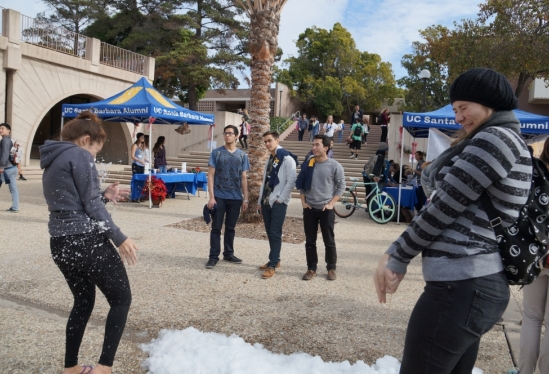 snowball fight at Storke Plaza