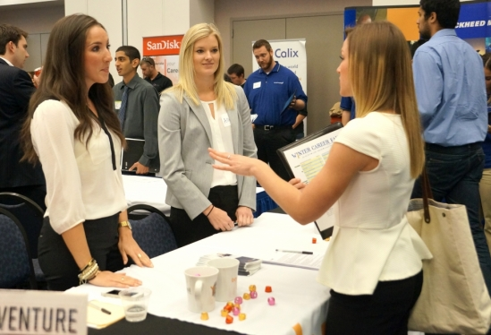 Students talking to recruiters