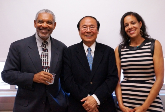 photo of Dean Melvin Oliver, Chancellor Henry Yang and Shana Redmond
