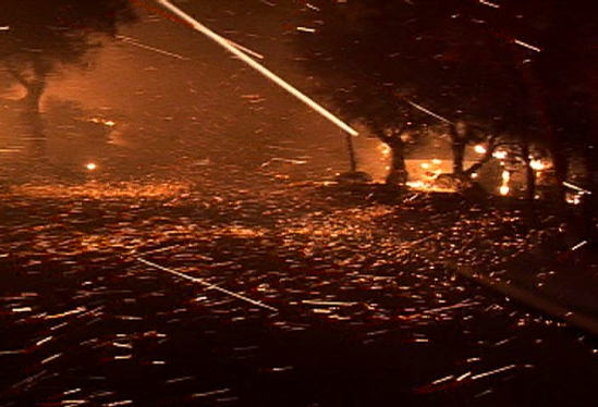 video still of swirling embers during Tea Fire