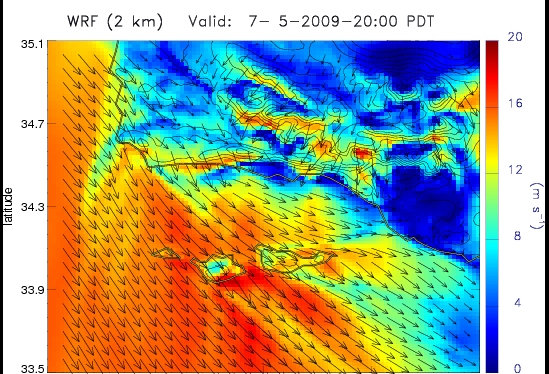 Meteorological simulation of direction and intensity of Sundowner winds during Jesusita Fire