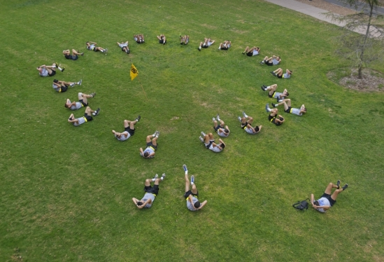 UCSB ROTC workout aerial view